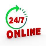 3d 24 heures 7 jours en ligne Photographie stock libre de droits