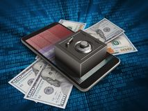 3d hex data. 3d illustration of mobile phone over digital background with banknotes and steel safe Stock Photos