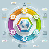 3d hexagon arrow timeline infographics. Stock Images
