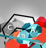 3d hexagon geometric composition, geometric digital abstract background. Techno or business presentation template with sample options. Vector illustration royalty free illustration