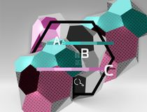 3d hexagon geometric composition, geometric digital abstract background. Techno or business presentation template with sample options. Vector illustration vector illustration