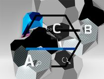 3d hexagon geometric composition, geometric digital abstract background. Techno or business presentation template with sample options. Vector illustration Stock Photography