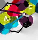 3d hexagon geometric composition, geometric digital abstract background. Techno or business presentation template with sample options. Vector illustration Stock Image