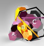 3d hexagon geometric composition, geometric digital abstract background. Techno or business presentation template with sample options. Vector illustration Royalty Free Stock Image