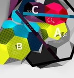 3d hexagon geometric composition, geometric digital abstract background. Techno or business presentation template with sample options. Vector illustration Stock Photo