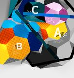 3d hexagon geometric composition, geometric digital abstract background. Techno or business presentation template with sample options. Vector illustration Royalty Free Stock Photos