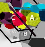 3d hexagon geometric composition, geometric digital abstract background. Techno or business presentation template with sample options. Vector illustration Royalty Free Stock Images