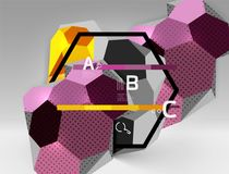 3d hexagon geometric composition, geometric digital abstract background. Techno or business presentation template with sample options. Vector illustration stock illustration