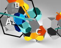 3d hexagon geometric composition, geometric digital abstract background. Techno or business presentation template with sample options. Vector illustration Royalty Free Stock Photo
