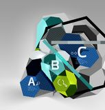 3d hexagon geometric composition, geometric digital abstract background. Techno or business presentation template with sample options. Vector illustration Royalty Free Stock Photography