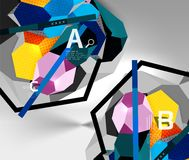 3d hexagon geometric composition, geometric digital abstract background. Techno or business presentation template with sample options. Vector illustration Stock Photos