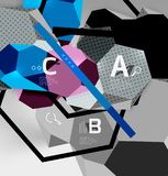 3d hexagon geometric composition, geometric digital abstract background. Techno or business presentation template with sample options. Vector illustration Stock Images