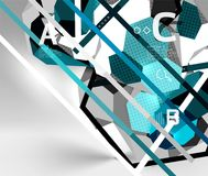 3d hexagon geometric composition, geometric digital abstract background stock illustration