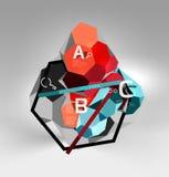 3d hexagon geometrische samenstelling, geometrische digitale abstracte achtergrond Stock Afbeeldingen