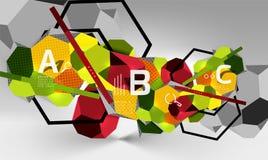 3d hexagon geometrische samenstelling, geometrische digitale abstracte achtergrond Royalty-vrije Stock Afbeelding