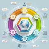 3d hexagon infographics van de pijlchronologie Stock Afbeeldingen
