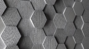 3D Hexagonal Aluminum Tile Background Stock Photo