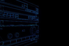 3D HIFI system w Wireframe holograma stylu Ładny 3D rendering Obrazy Royalty Free