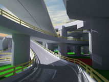 3D highway interchange. 3d imagen Stock Images