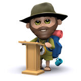 3d Hiker delivers a lecture Royalty Free Stock Photo
