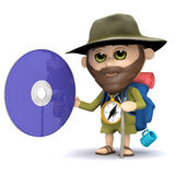 3d Hiker with a dvd Royalty Free Stock Images