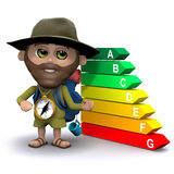 3d Hiker with an ecological power usage chart Stock Photography
