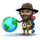 3d Hiker with a globe of the Earth Royalty Free Stock Images