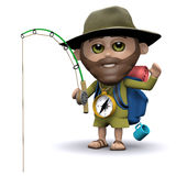 3d Hiker goes fishing Royalty Free Stock Image