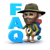 3d Hiker has a FAQ Royalty Free Stock Photos