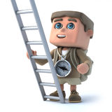 3d Hiker kid has a ladder Stock Images