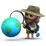 3d Hiker studies a globe of the Earth Stock Photos