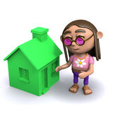 3d Hippie has a green house Royalty Free Stock Images