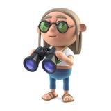 3d Hippie stoner has a pair of binoculars. 3d render of a hippy stoner holding a pair of binoculars Stock Images