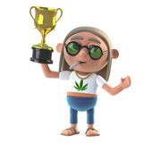3d Hippie stoner wins the gold cup trophy Royalty Free Stock Image