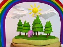 3d Hippo binnen een laag-poly groene scène Stock Afbeelding