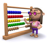 3d Hippy with an abacus. 3d render of a hippy with an abacus Stock Photography