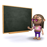 3d Hippy by the blackboard Royalty Free Stock Photography