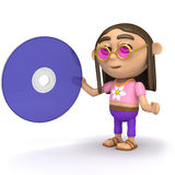 3d Hippy with a dvd Royalty Free Stock Image