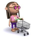 3d Hippy goes shopping Royalty Free Stock Image