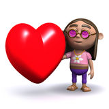 3d Hippy has a heart Royalty Free Stock Images