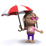 3d Hippy has an umbrella Stock Photos