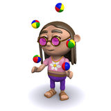 3d Hippy juggles Royalty Free Stock Photography