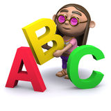 3d Hippy learns the alphabet Stock Image