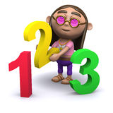 3d Hippy learns how to count Stock Image