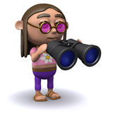 3d Hippy looks through binoculars Stock Photography