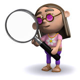 3d Hippy looks through a magnifying glass Stock Image