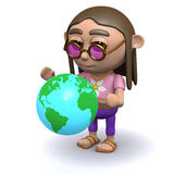 3d Hippy looks at the world Royalty Free Stock Images