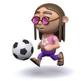 3d Hippy loves football Royalty Free Stock Photo