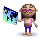 3d Hippy loves his credit card Stock Photography