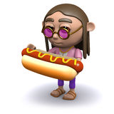 3d Hippy loves hotdogs Stock Image